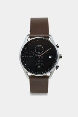 Stainless-steel watch with a leather strap, BROWN, detail