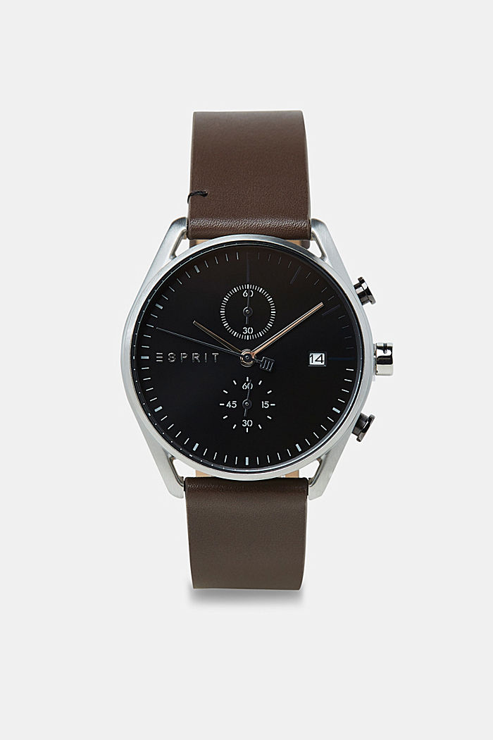 Stainless-steel watch with a leather strap, BROWN, detail image number 0