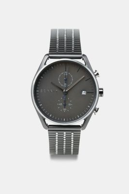 Chronograph watch with black plating, SILVER, detail
