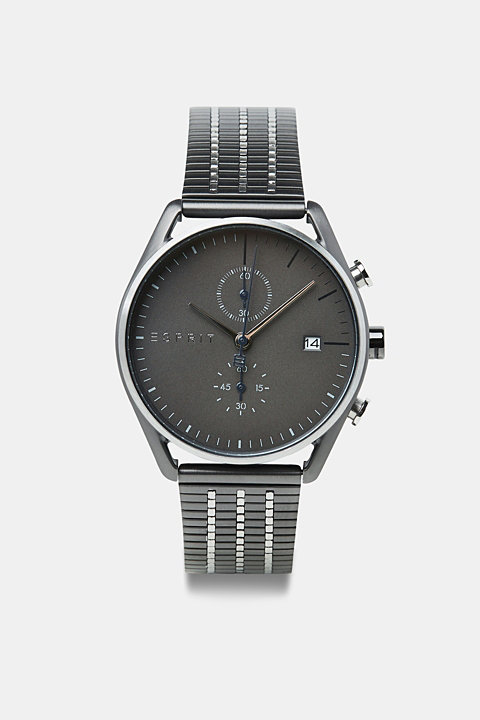 Stainless-steel watch with black plating