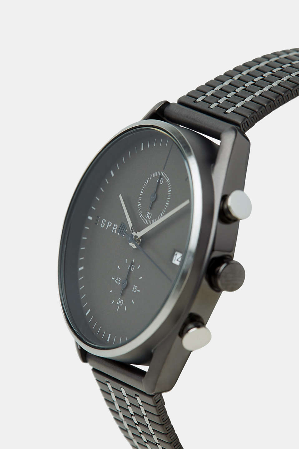 Stainless-steel watch with black plating, GREY, detail image number 1