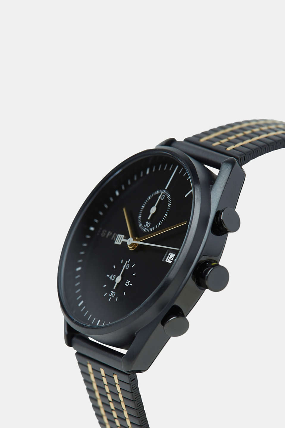 Stainless-steel watch with black plating, BLACK, detail image number 1