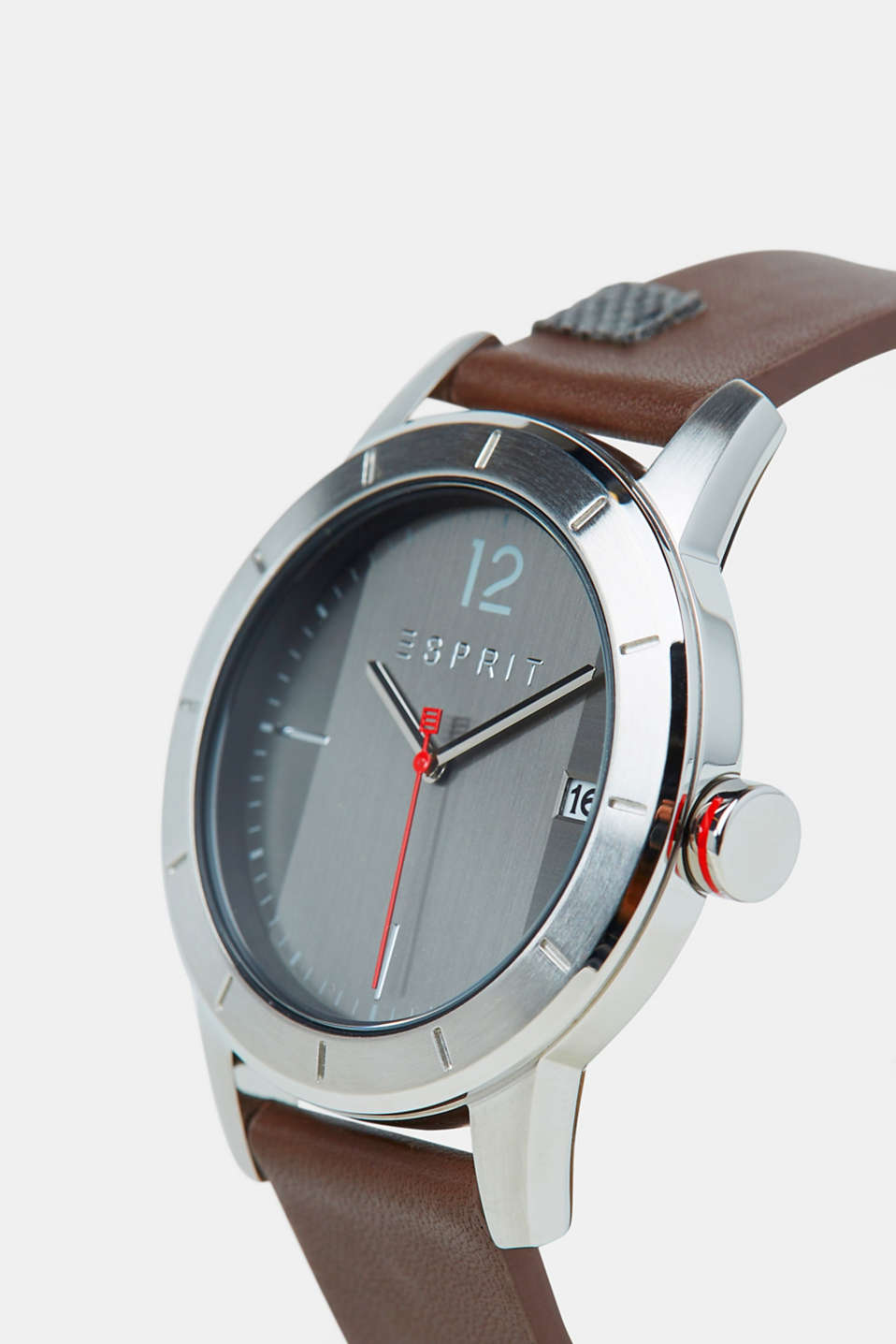 Stainless-steel watch with a leather strap, BROWN, detail image number 1