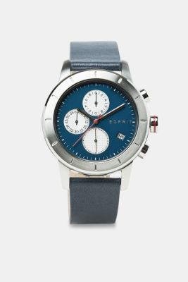 Chronograph watch with a leather strap, BLUE, detail