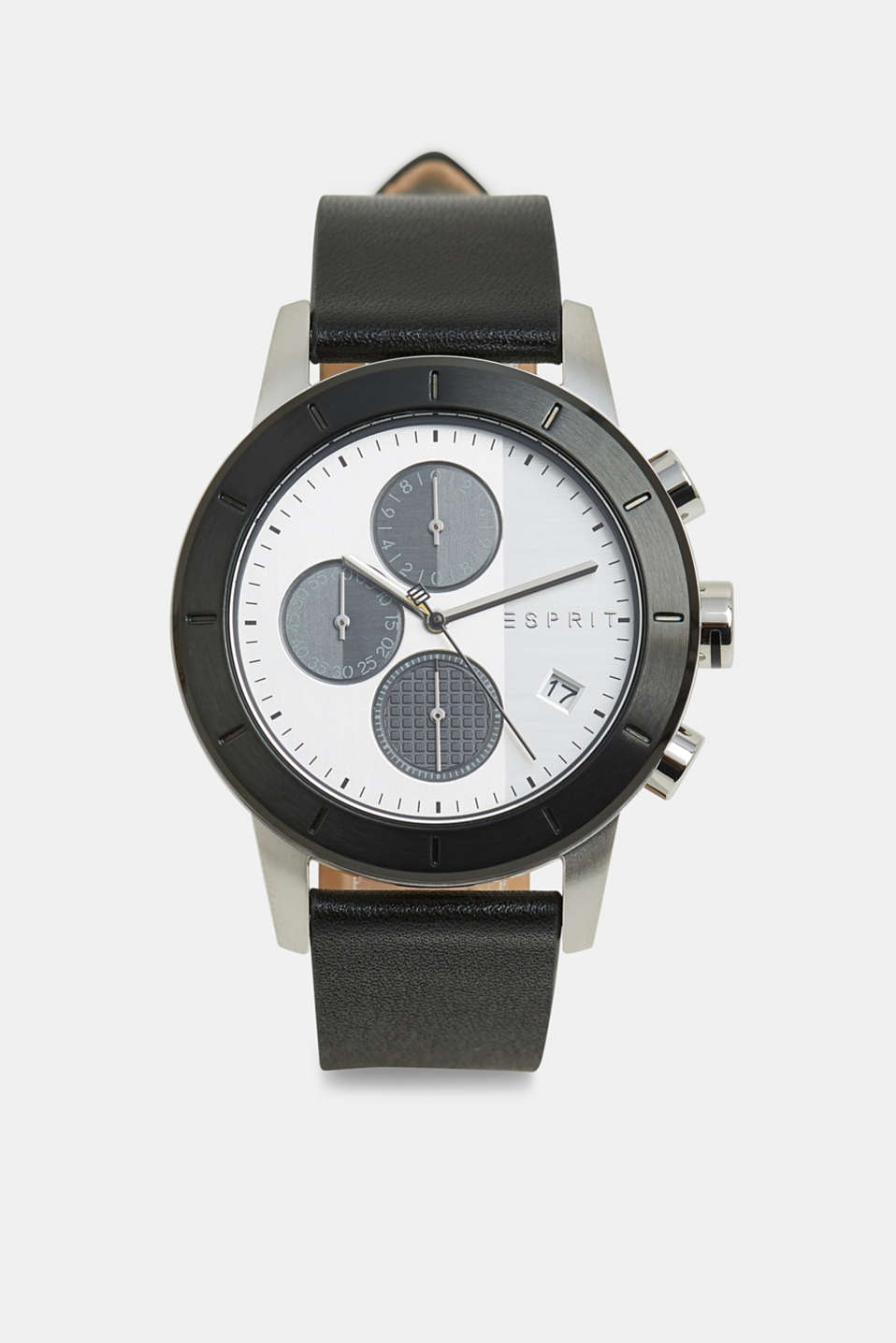 Esprit - Stainless steel chronograph with a leather strap