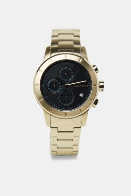 Stainless steel chronograph watch with gold-coloured plating, GOLD, detail