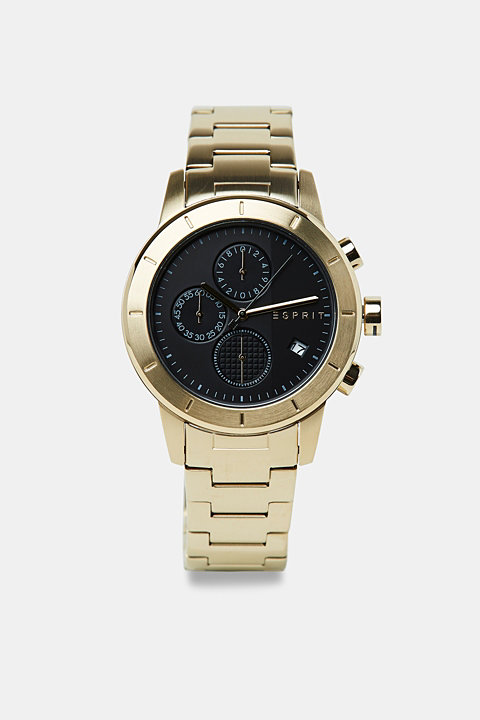 Stainless-steel watch with gold-coloured plating