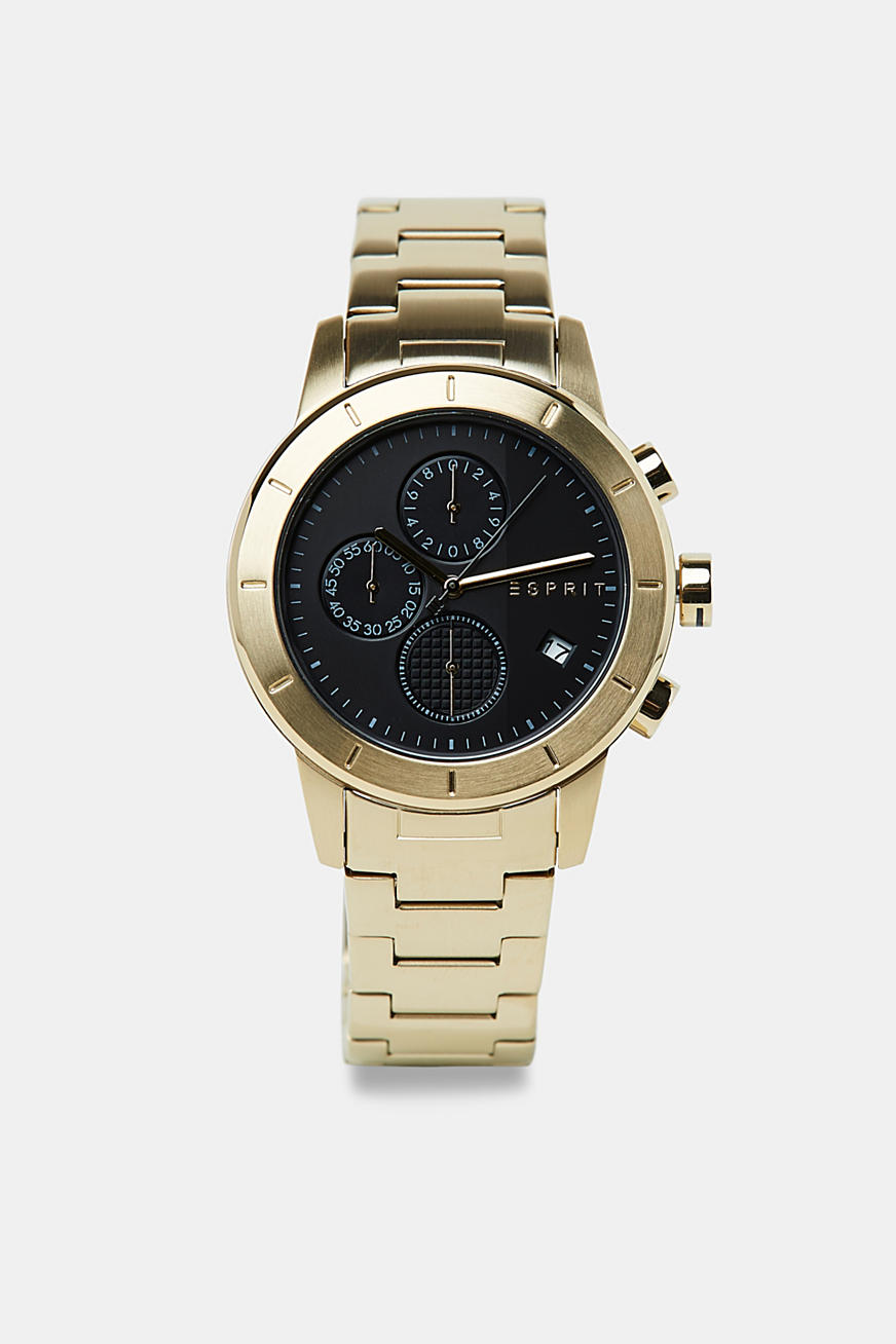 Stainless steel chronograph watch with gold-coloured plating
