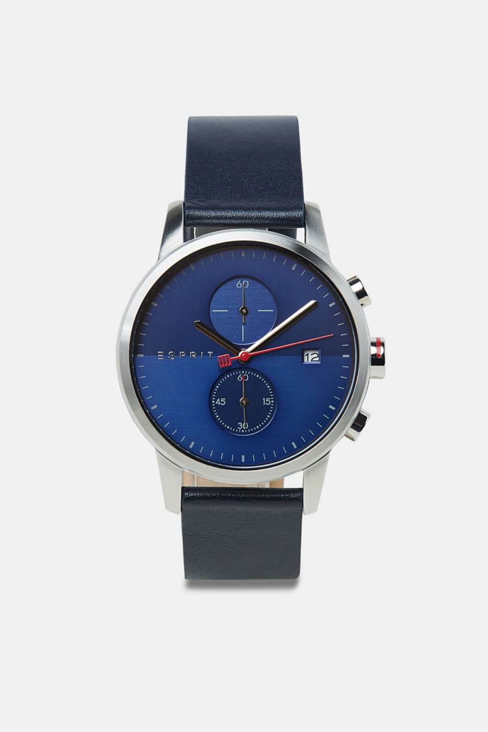 Stainless steel chronograph with a leather strap, BLUE, detail image number 0