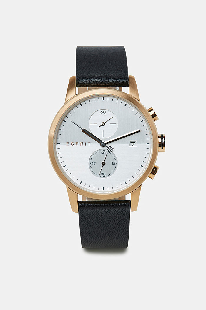 Edelstahl-Chronograph mit Leder-Armband, BLACK, detail image number 0