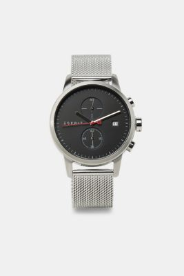 Stainless steel chronograph with a mesh strap, SILVER, detail