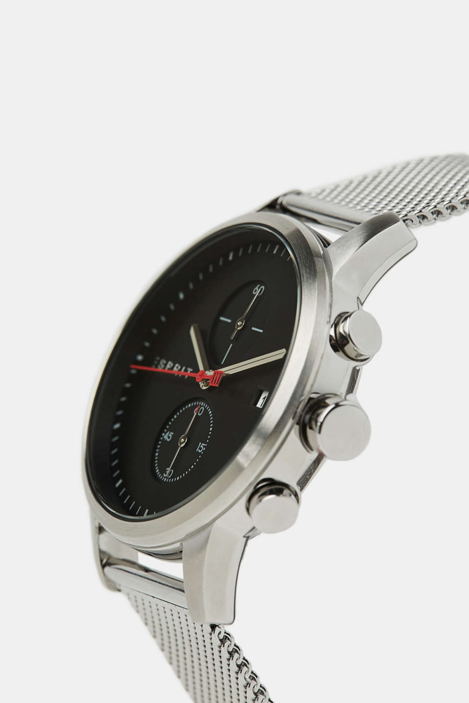 Stainless steel chronograph with a mesh strap, SILVER, detail image number 1