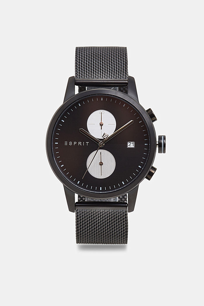 Stainless steel chronograph with a mesh strap, BLACK, detail image number 0