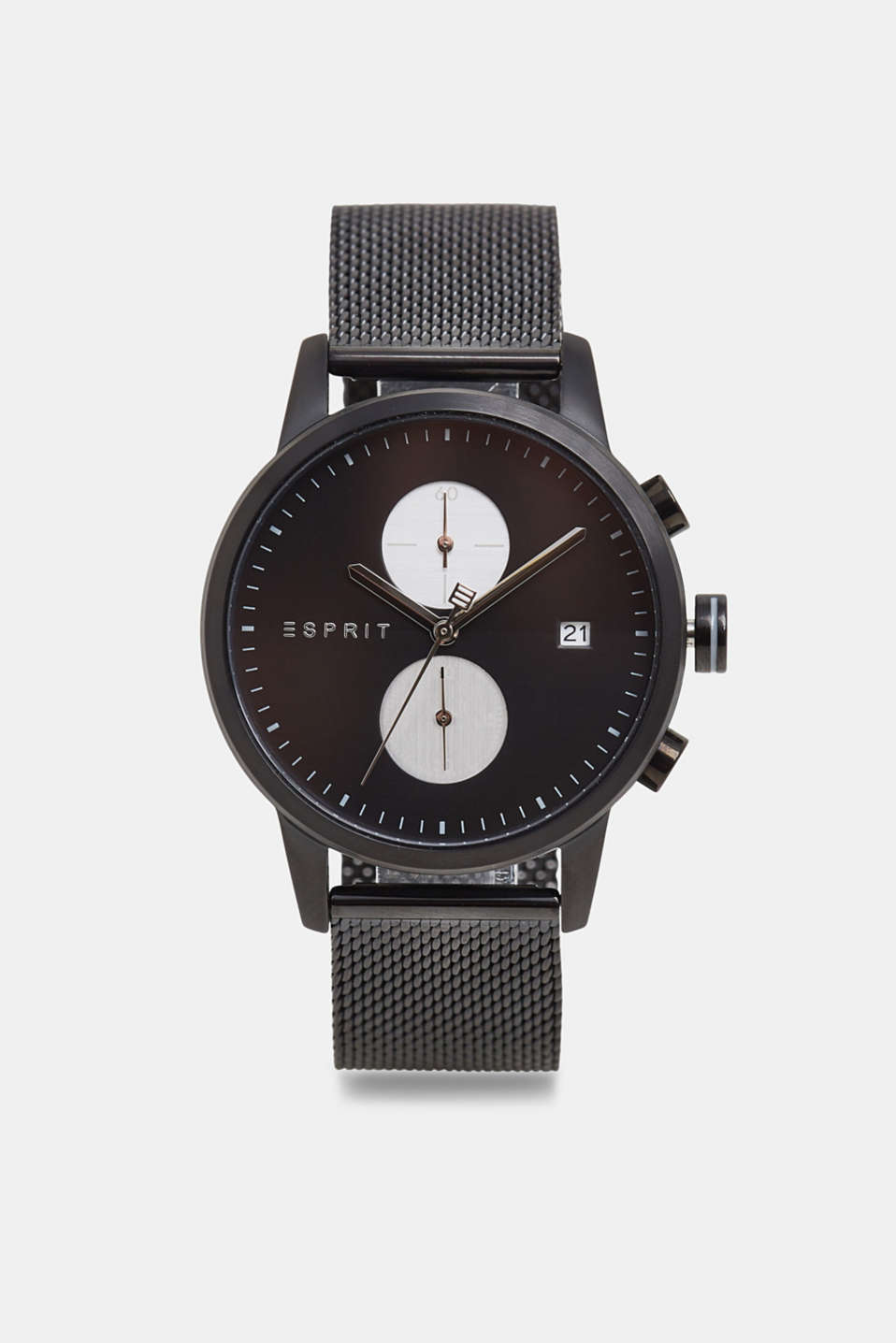 Esprit - Stainless steel chronograph with a mesh strap