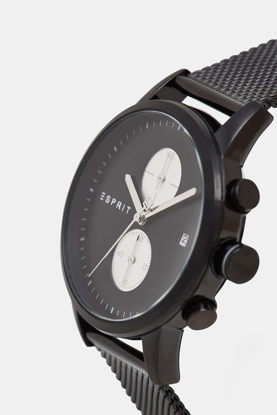 Stainless steel chronograph with a mesh strap, BLACK, detail image number 1