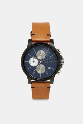 Chronograph watch with a leather strap, BROWN, detail