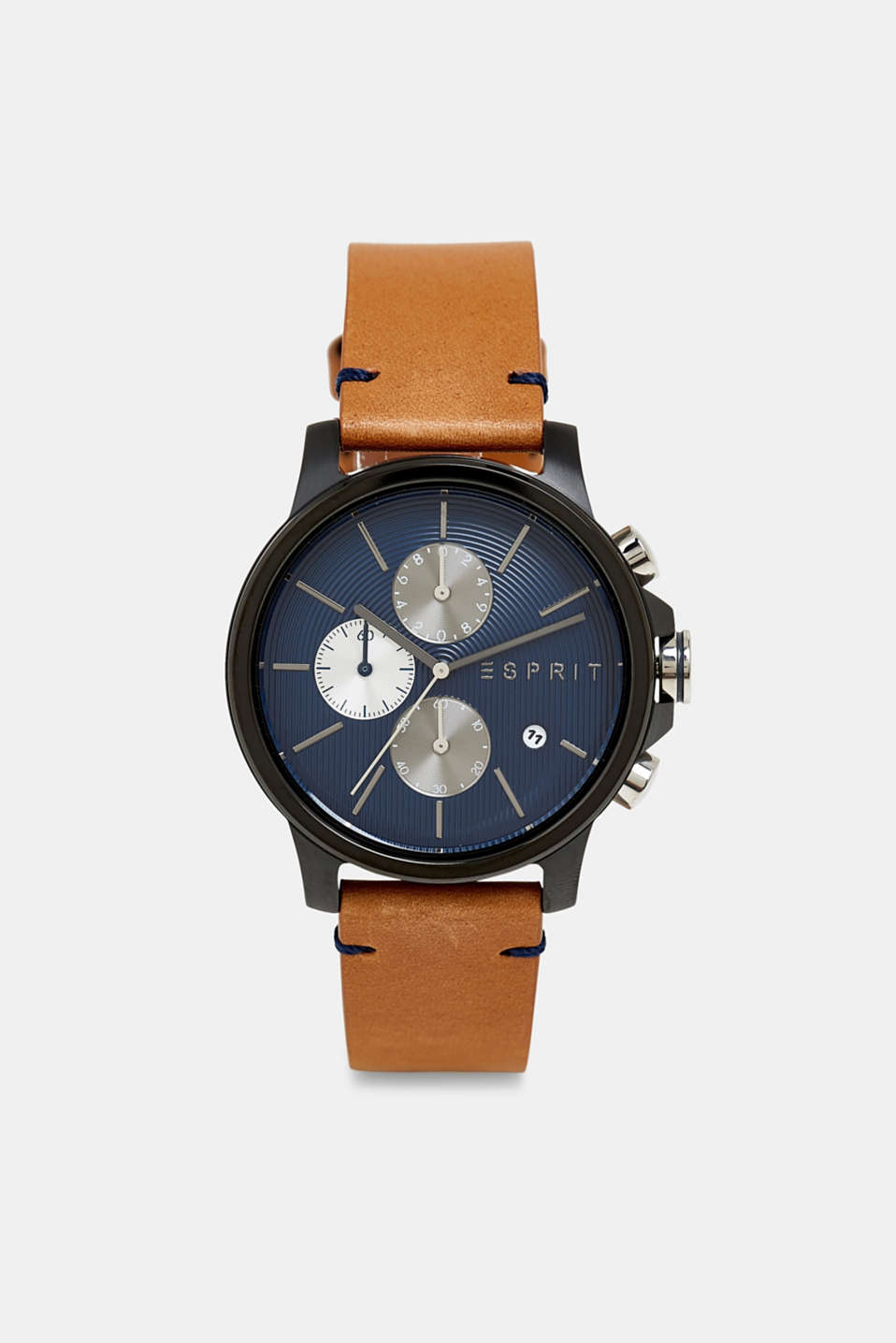 Chronograph watch with a leather strap, BROWN, detail image number 0