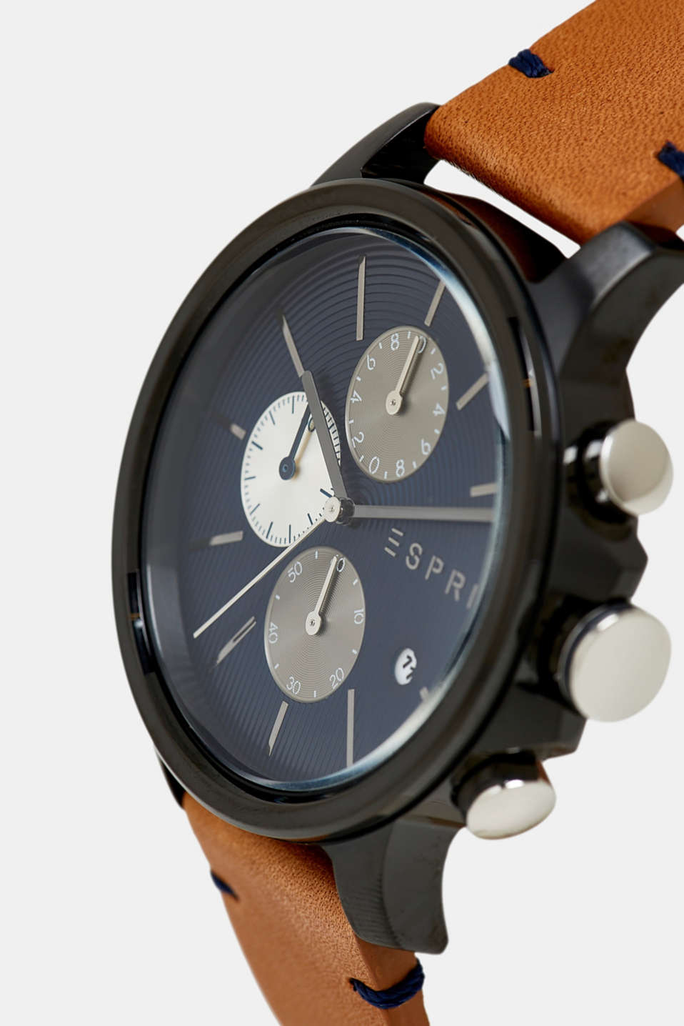 Chronograph watch with a leather strap, BROWN, detail image number 1