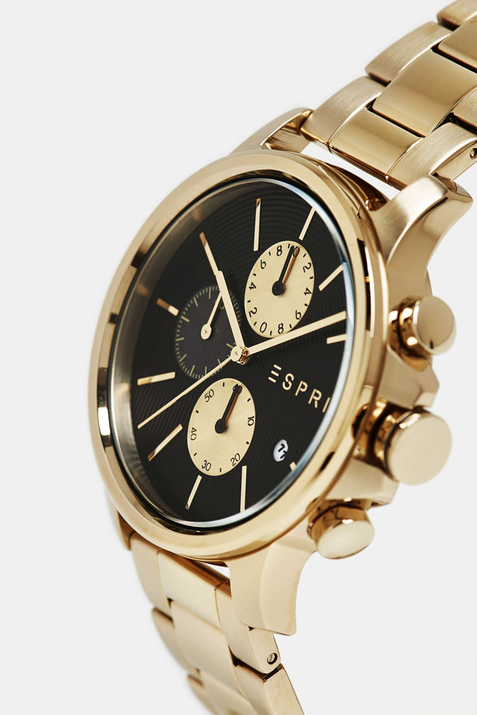 Stainless steel chronograph with link strap, GOLD, detail image number 1
