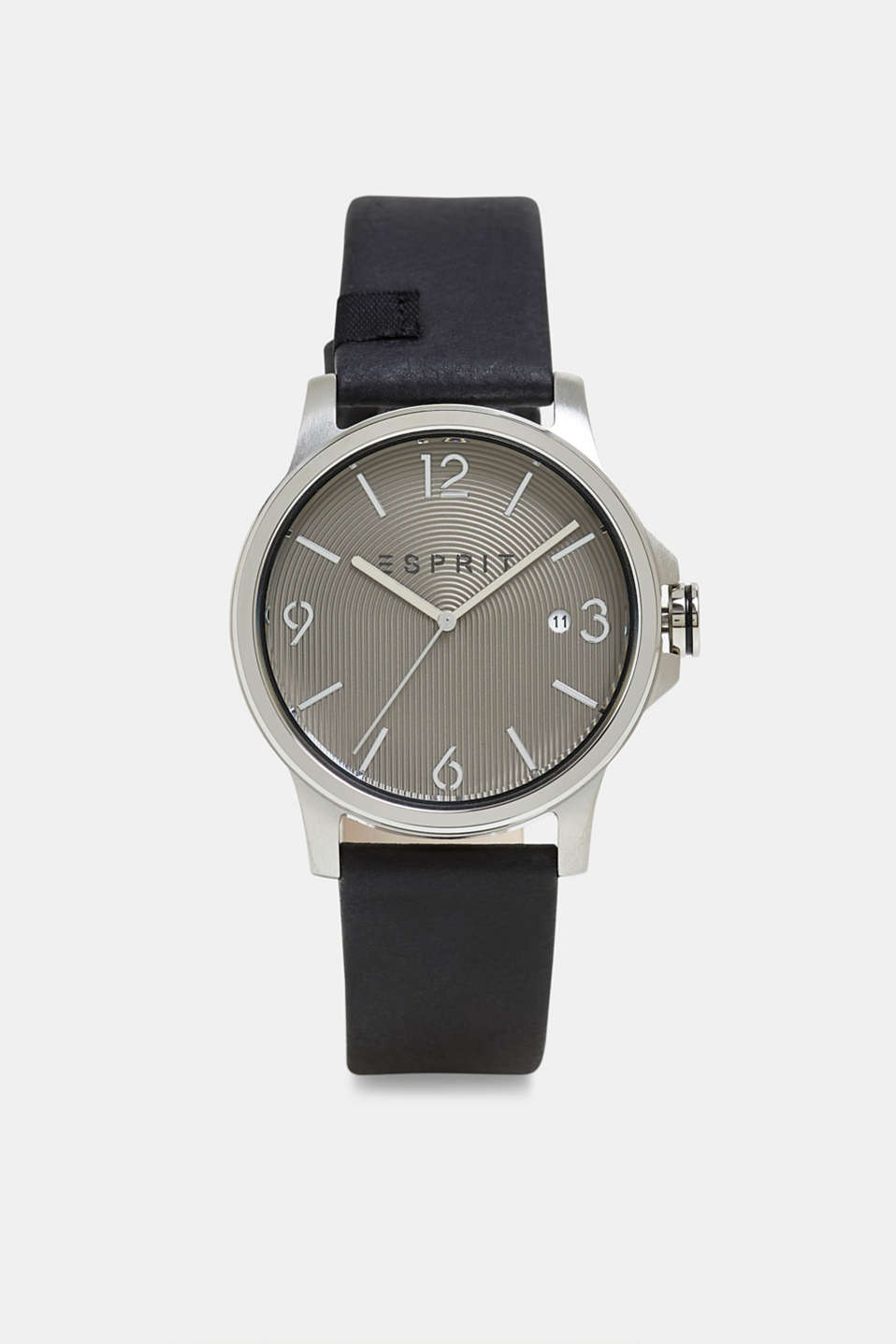 Stainless-steel watch with a leather strap, BLACK, detail