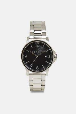 Stainless-steel watch with link bracelet, SILVER, detail