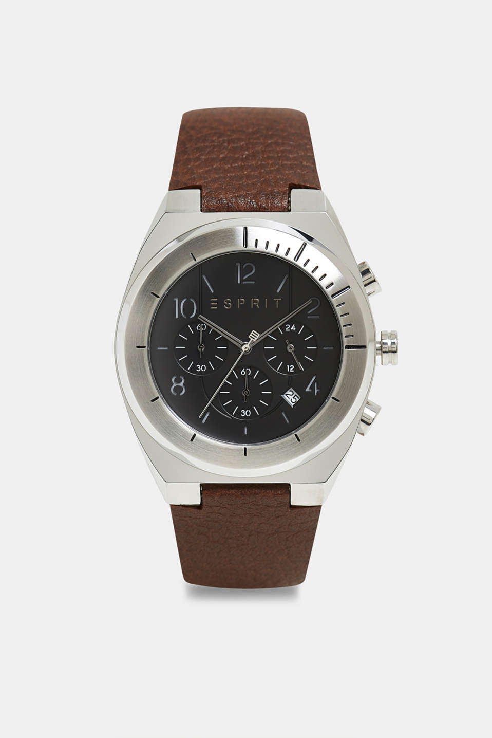 Stainless steel chronograph with a leather strap, BROWN, detail image number 0