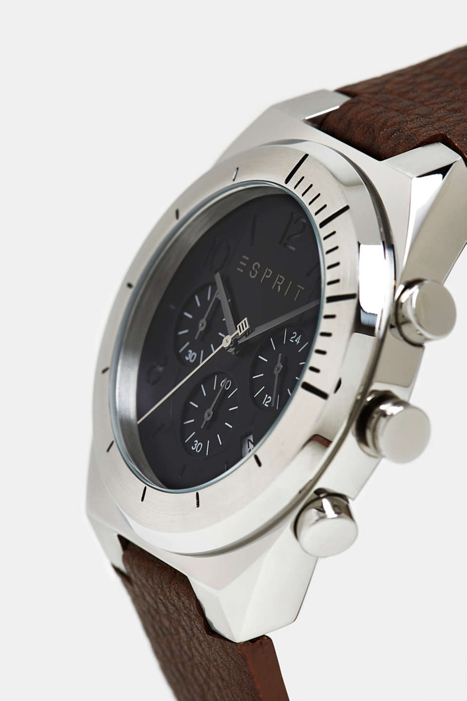 Stainless steel chronograph with a leather strap, BROWN, detail image number 1