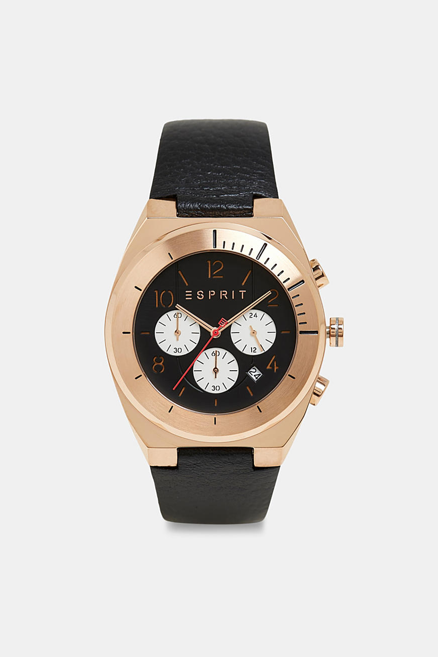 Stainless steel chronograph with rose gold plating