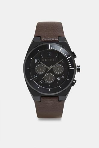 Stainless steel chronograph with a leather strap