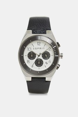 Stainless steel chronograph with a leather strap, BLACK, detail