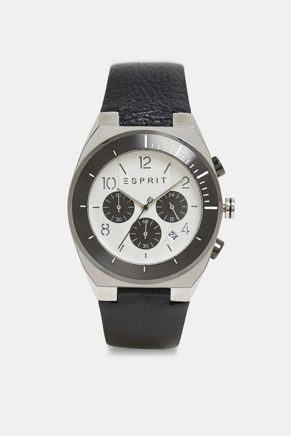 Stainless steel chronograph with a leather strap, BLACK, detail image number 0