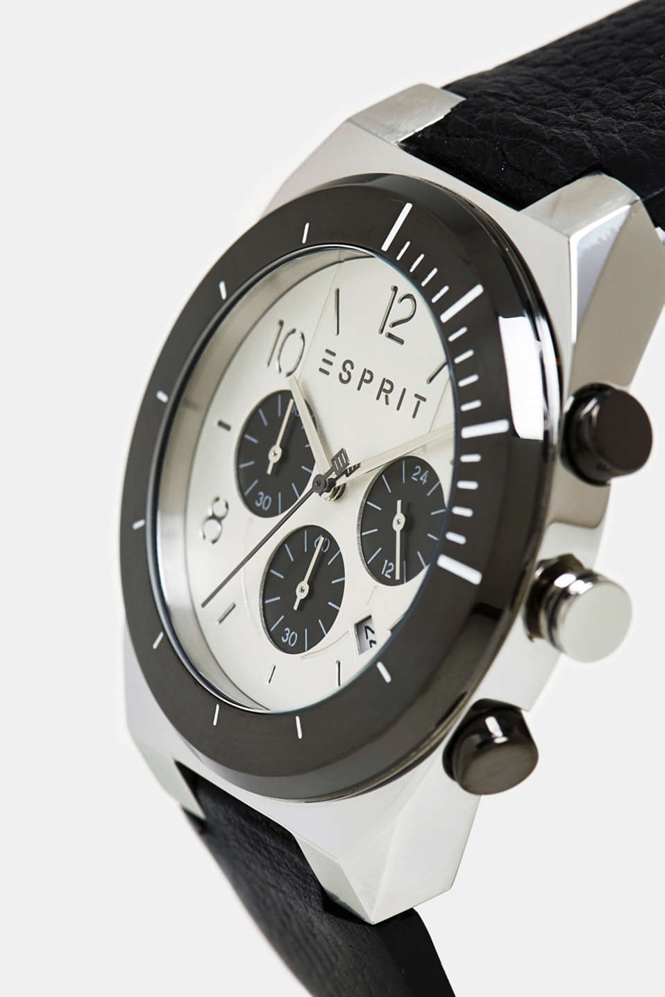 Stainless steel chronograph with a leather strap, BLACK, detail image number 1