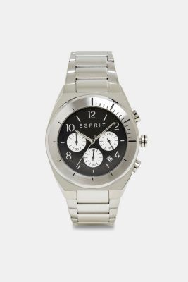 Stainless-steel chronograph, SILVER, detail