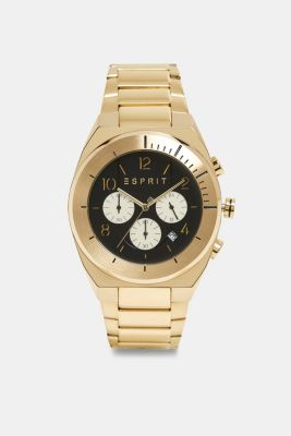 Stainless steel chronograph with yellow gold plating, GOLD, detail