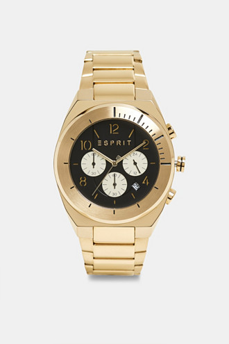 Stainless steel chronograph with yellow gold plating