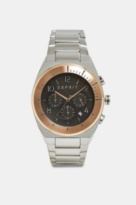 Stainless steel chronograph with a link bracelet, ROSEGOLD, detail