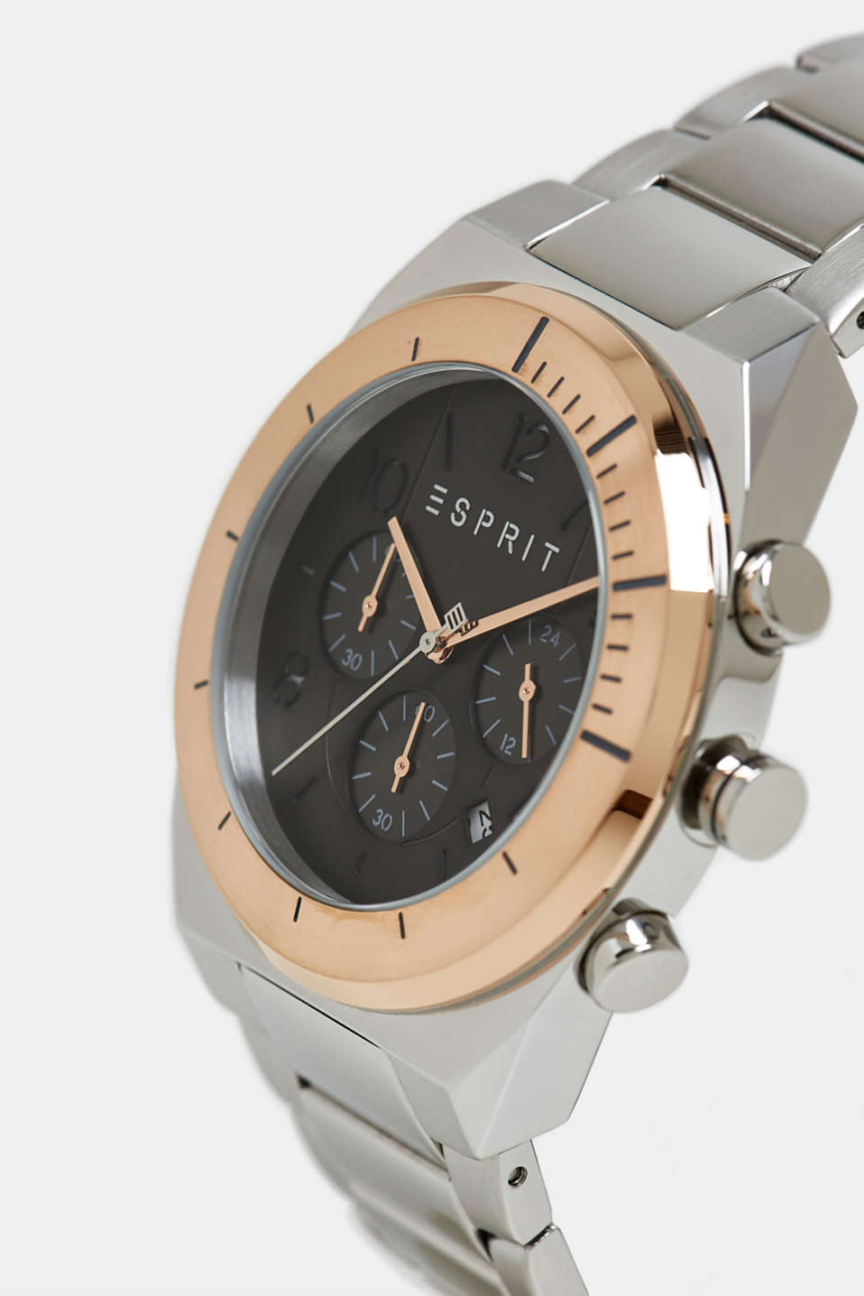 Stainless steel chronograph with a link bracelet, ROSEGOLD, detail image number 1