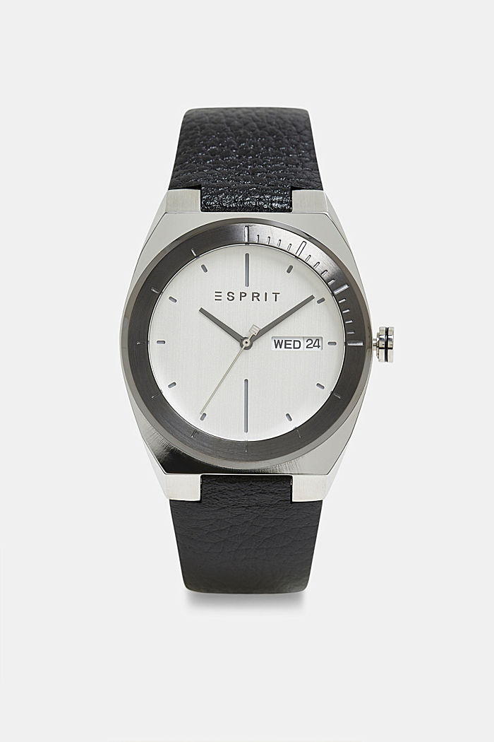 Stainless-steel watch with a leather strap, BLACK, overview
