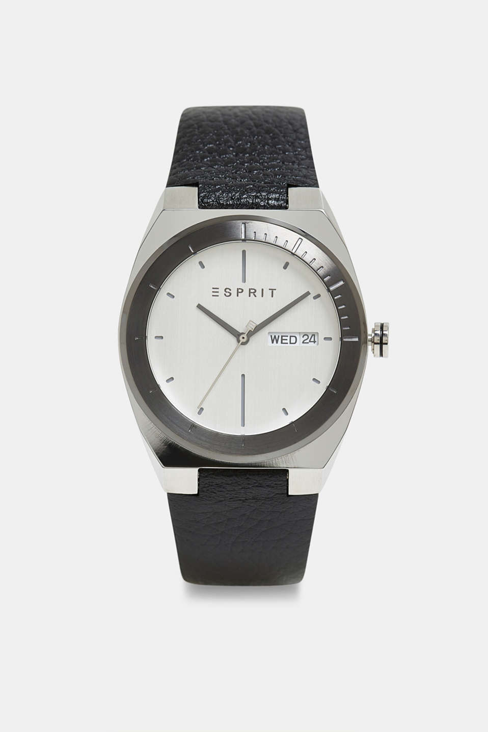 Stainless-steel watch with a leather strap, BLACK, detail image number 0