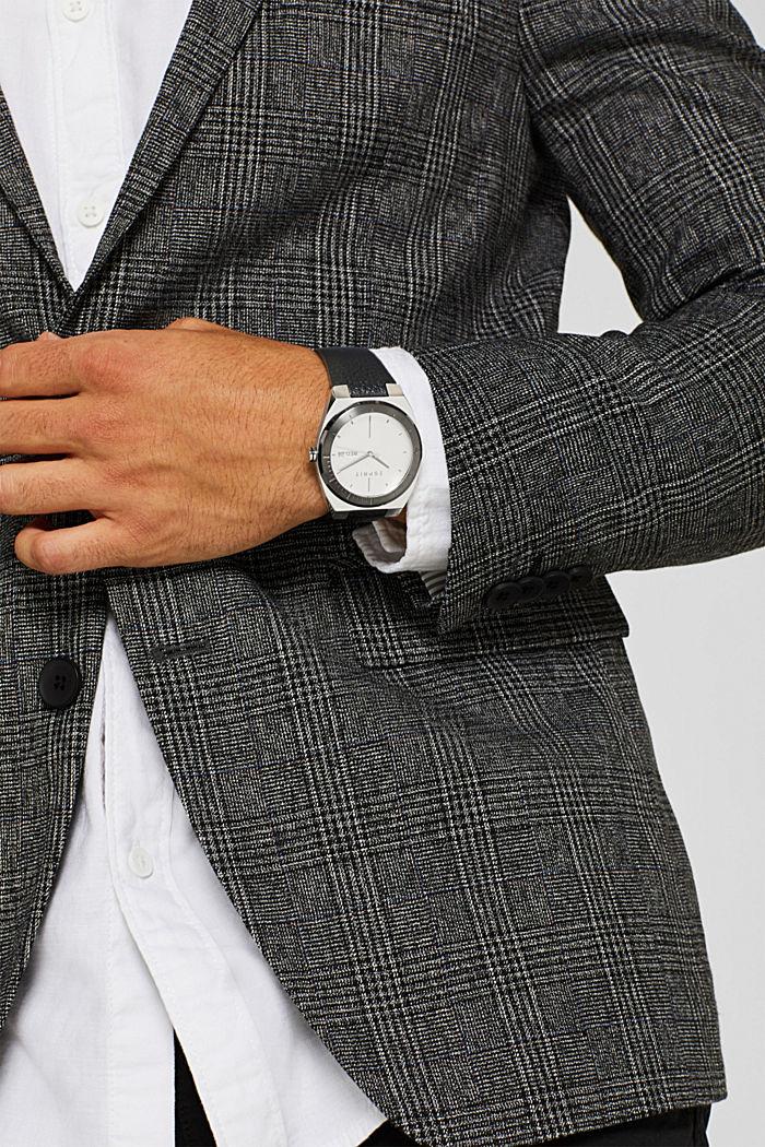 Edelstahl-Uhr mit Leder-Armband, BLACK, detail image number 2
