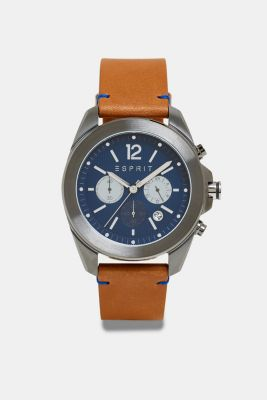 Stainless steel chronograph with a leather strap, BROWN, detail