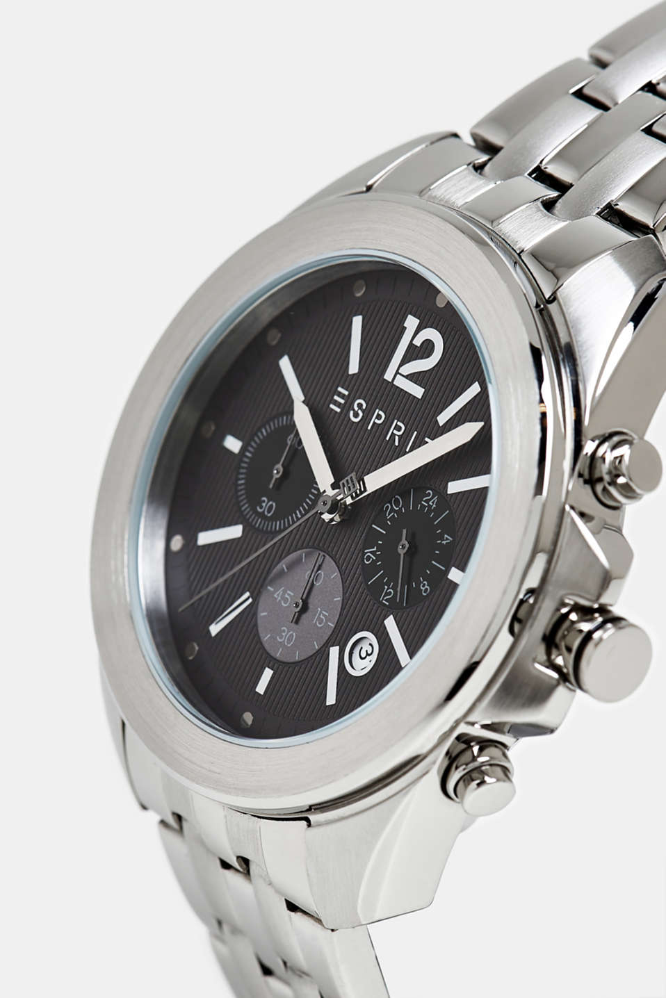 Stainless steel chronograph with a link bracelet, SILVER, detail image number 1