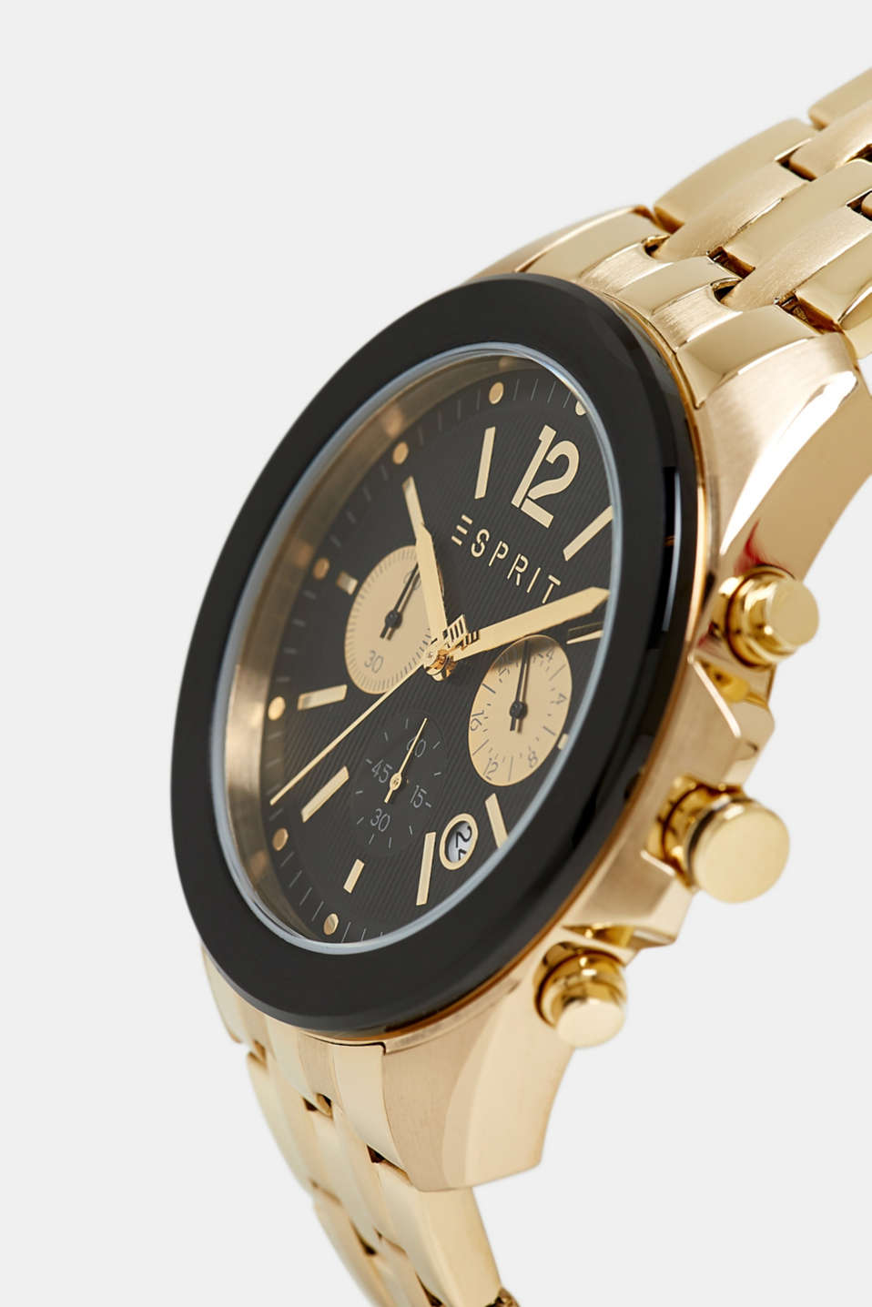 Stainless steel chronograph with a link bracelet, GOLD, detail image number 1