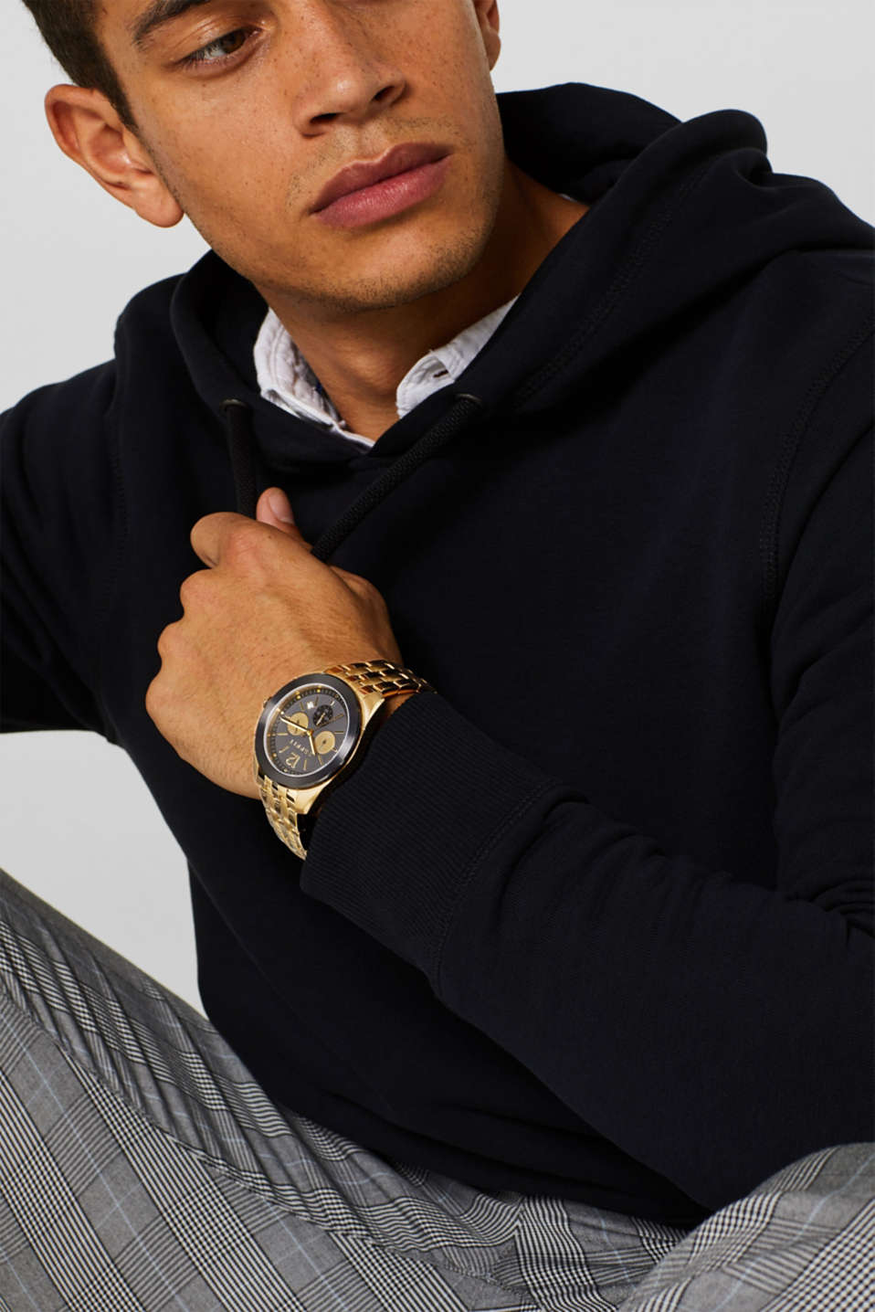 Stainless steel chronograph with a link bracelet, GOLD, detail image number 2