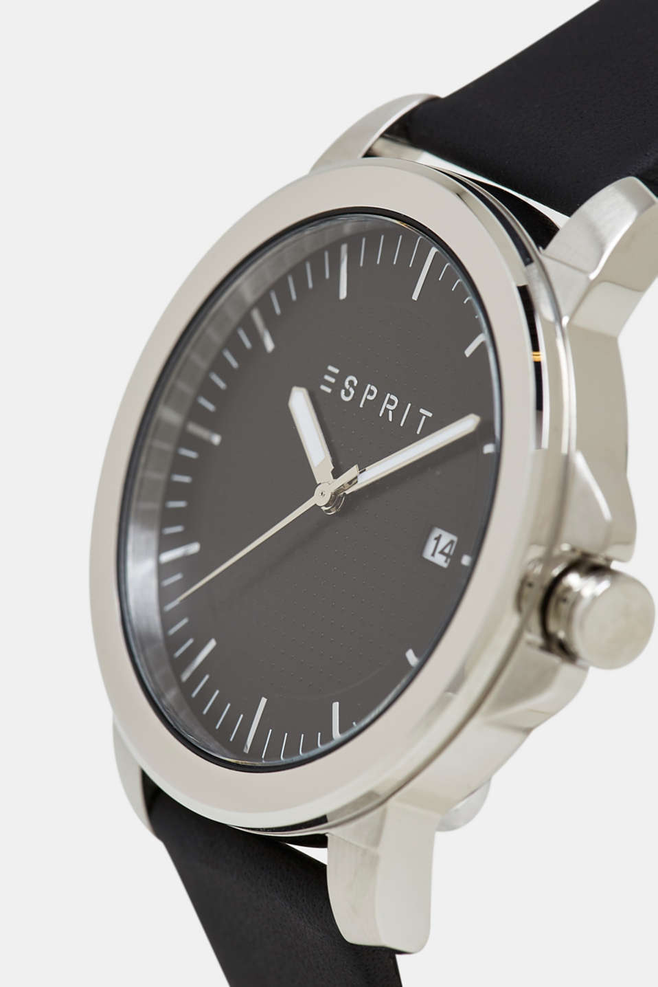 Stainless-steel watch with a leather strap, BLACK, detail image number 1