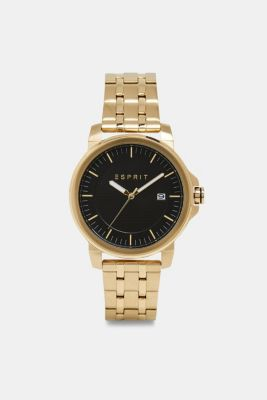 Stainless-steel watch with link bracelet, GOLD, detail