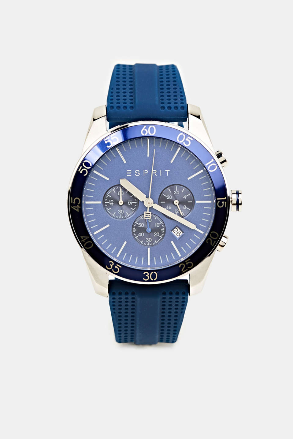 Stainless steel chronograph with a rubber strap, LCBLUE, detail image number 0