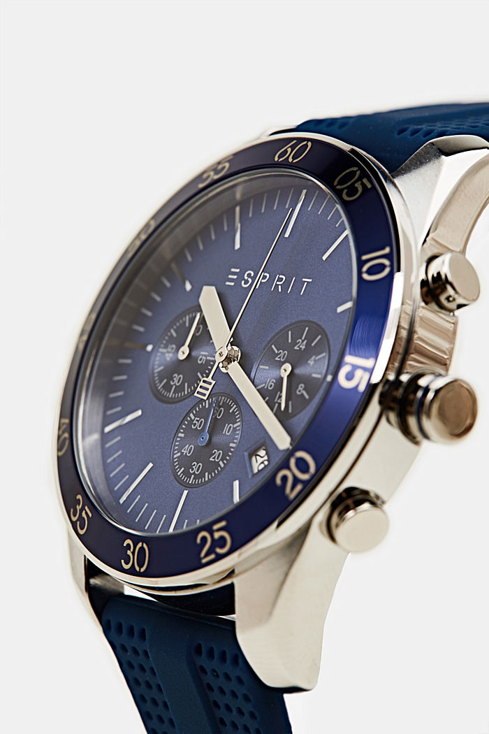 Stainless steel chronograph with a rubber strap, BLUE, detail image number 1