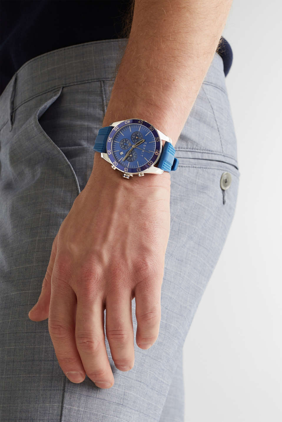 Stainless steel chronograph with a rubber strap, LCBLUE, detail image number 2