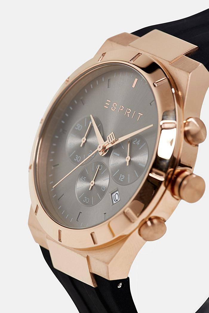 Chronograph mit Silikon-Armband, BLACK, detail image number 1